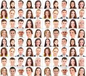 stock photo of human face  - Collage of many different  human faces - JPG