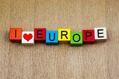 I Love Europe - Sign Series For Travel Destinations And Locations poster