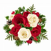 stock photo of mistletoe  - Vector Christmas bouquet with red and white roses - JPG