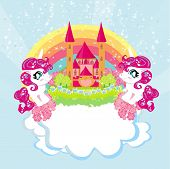 foto of pegasus  - Card with a cute unicorns rainbow and fairy - JPG