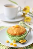 Freshly Baked Corn Muffins On The Plate