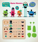 foto of freaky  - Vector Freaky Hipster Monsters Set - JPG