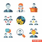 stock photo of tribunal  - Business people Flat icons for Web and Mobile Application - JPG