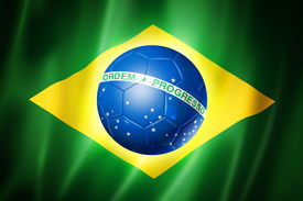 picture of flags world  - Brazil world cup 2014 symbol soccer ball on brazilian flag - JPG