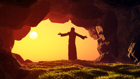stock photo of crucifixion  - Man praying in the cave - JPG