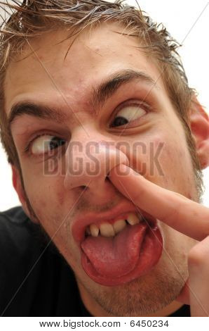 Ridiculous Man Picking His Nose With Crossed Eyes