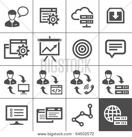 Outsourcing & remote work icons. Vector illustration. Simplus series