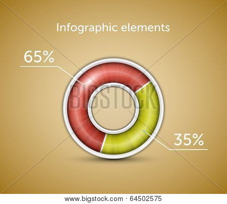Infographic. Pie chart, round progress bar on blue background with blue-green indicator. Vector illustration