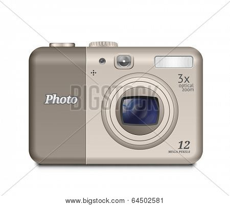 12 megapixel digital compact camera. Vector illustration