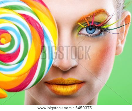 Colorful twisted lollipop colorful fashion makeup