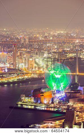 Osaka skyline building at night, Japan