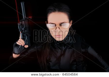 Woman Spy Holding Gun with Laser Sights