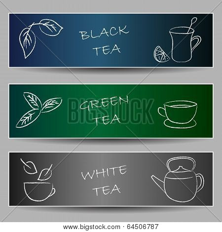 Tea Chalky Doodles On Banners