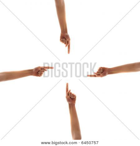 Four Hands Pointing To Center
