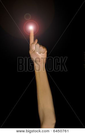 Pointing Fingertip With Light