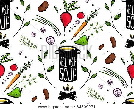 Seamless Pattern Cooking Vegetable Soup