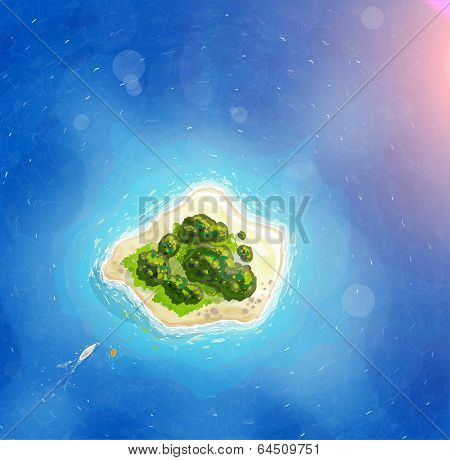 Tropical Island, Blue Ocean for Summer Design. With Sunshine, Trees and Yacht