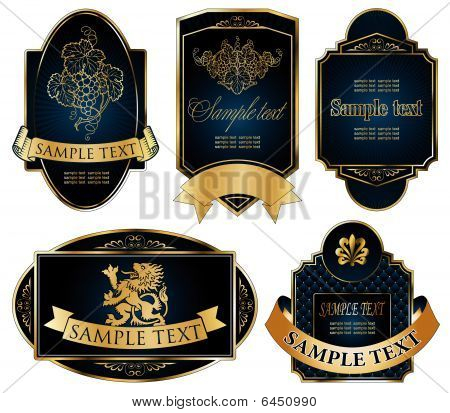 gold-framed labels on different topics