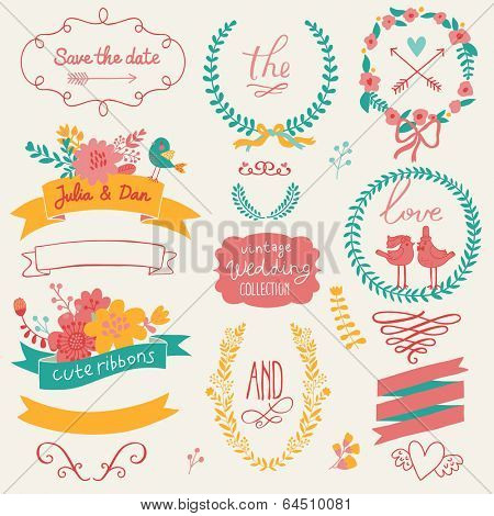 Wedding romantic collection with labels, ribbons, hearts, flowers, arrows, wreaths, laurel and birds. Graphic set in retro style. Save the Date invitation design elements