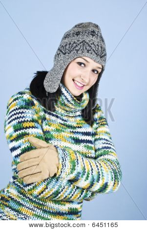 Young Happy Girl In Winter Clothes