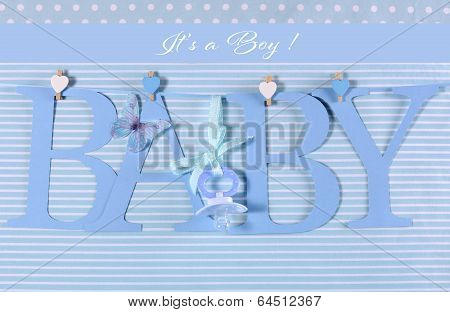 Its A Boy, Blue Theme Baby Bunting Letters Under From Pegs On A Line For Nursery, Greeting Card Or B