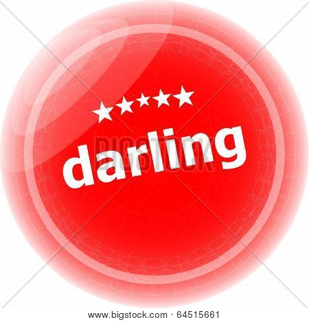 Darling Word Red Web Button, Label, Icon