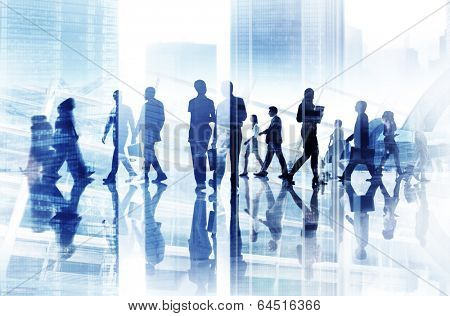 Abstract Image of Business People's Busy Life