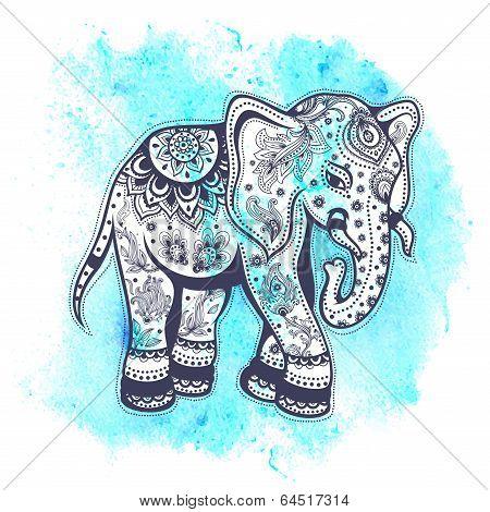 Vintage watercolor elephant illustration