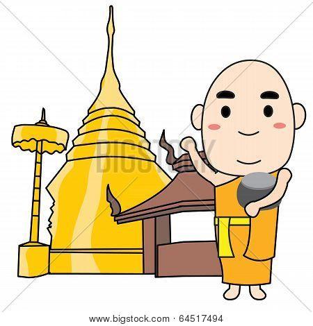 Monk Thai Vector