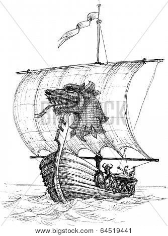 Long boat drakkar sketch