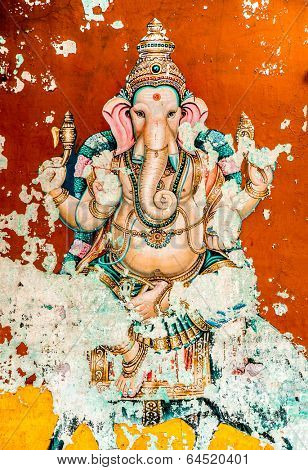 THANJAVUR, INDIA - FEBRUARY 15: Ganesh ancient fresco in February 15, 2013(also spelled Ganesa and Ganesh), is one of the best-known and most widely worshipped deities in the Hindu pantheon.