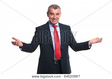 portrait of a mid aged business man welcoming you with a smile and his arms wide open. isolated on a white background