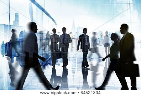 Silhouettes of Business and Casual People Walking