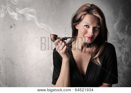 smoking her pipe