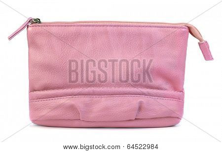 Pink leather makeup bag isolated on white