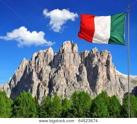 Dolomite peaks, Rosengarten with Italy flag,Val di Fassa, Italy Alps