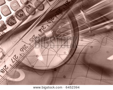 Magnifier, Ruler And Calculator, Collage In Reds