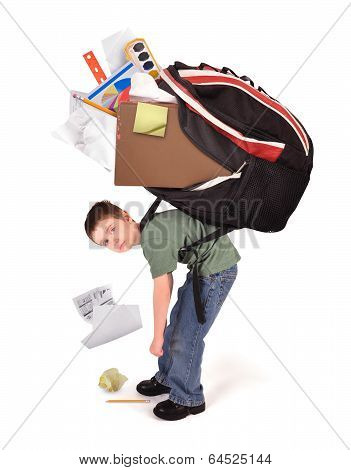 Child With Heavy School Homework Book Bag