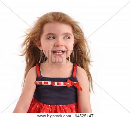 Happy Excited Child Looking On White Background