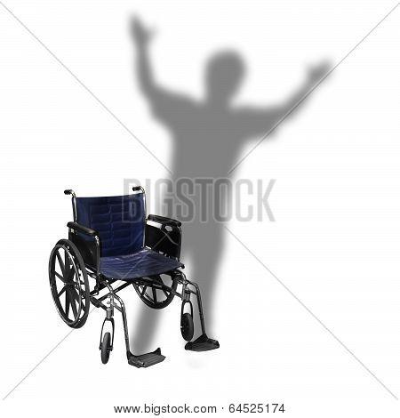 Handicap Wheelchair Shadow Man Walking