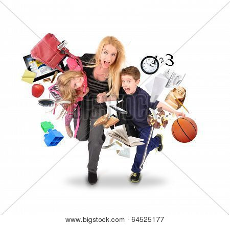 Stress Mother Running Late With Kids On White