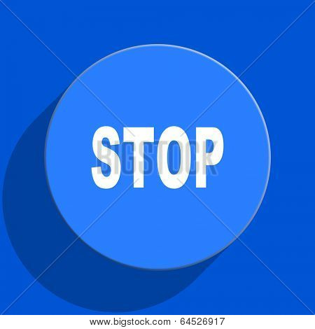 stop blue web flat icon