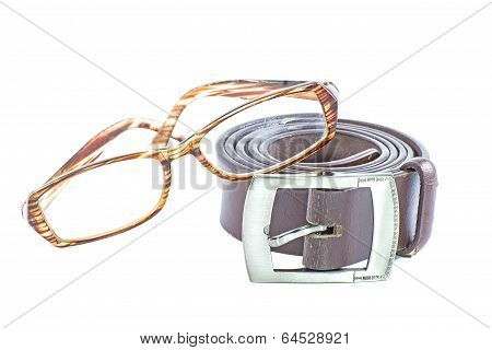 Male Elegant Belt And Glasses Isolated On The White