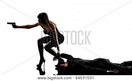 one detective woman criminals investigations  investigating crime in silhouettes on white background