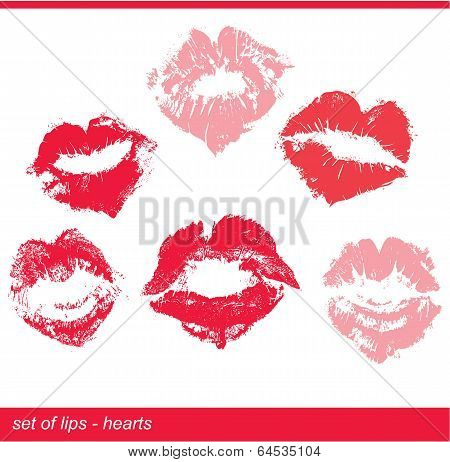 Set Of Beautiful Red Lips In Heart Shape Print On Isolated White Background