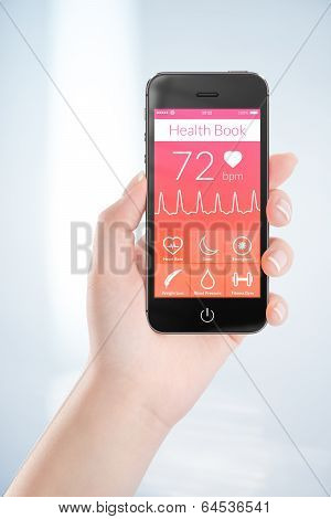 Black Mobile Smart Phone With Health Book App On The Screen In Female Hand