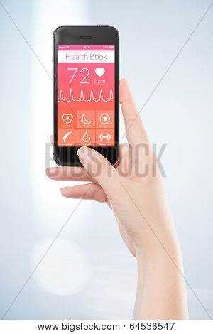 Directly Front View Of A Black Mobile Smart Phone With Health Book App On The Screen In Female Hand