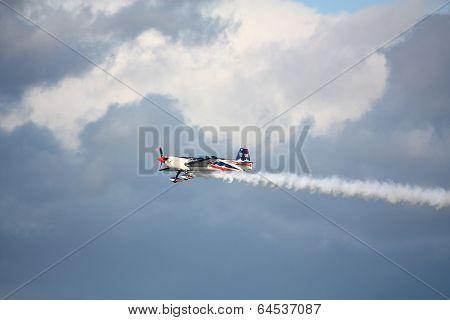 Riga, Latvia - August 20: Pilot From Usa Jeff Boerboon On Extra 330Sc Participating In Riga Fai Elit