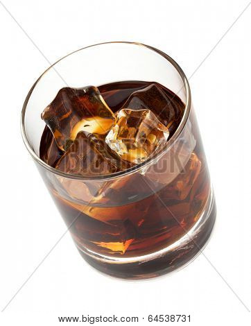 Whiskey cola cocktail. Isolated on white background