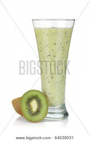 Kiwi milk smoothie. Isolated on white background